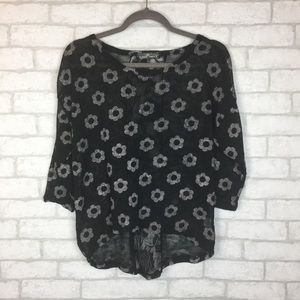 Almost Famous Large Flowered Black Blouse